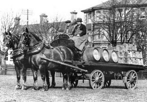 Cobbold draymen at Cliff Quay Brewery